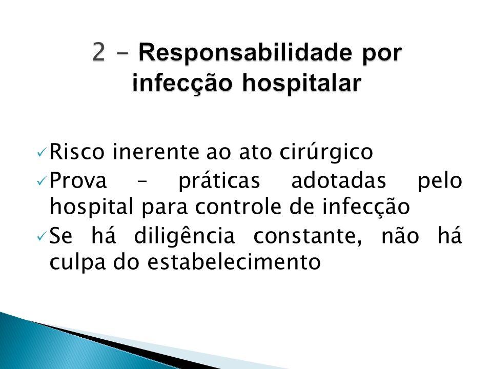 Risco inerente ao ato cirúrgico Prova – práticas adotadas pelo hospital para controle de infecção Se há diligência constante, não há culpa do estabele