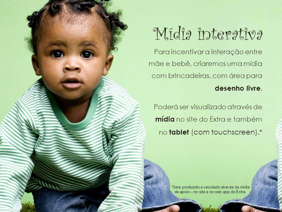 Mídia interativa Para incentivar a interação entre mãe e bebê, criaremos uma mídia com brincadeiras, com área para desenho livre. Poderá ser visualiza