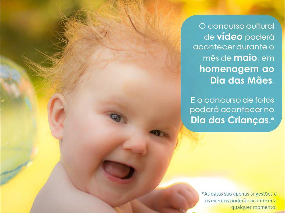 O concurso cultural de vídeo poderá acontecer durante o mês de maio, em homenagem ao Dia das Mães. E o concurso de fotos poderá acontecer no Dia das C