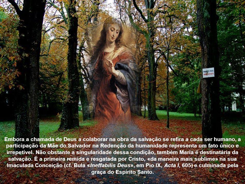 Embora a chamada de Deus a colaborar na obra da salvação se refira a cada ser humano, a participação da Mãe do Salvador na Redenção da humanidade representa um fato único e irrepetível.