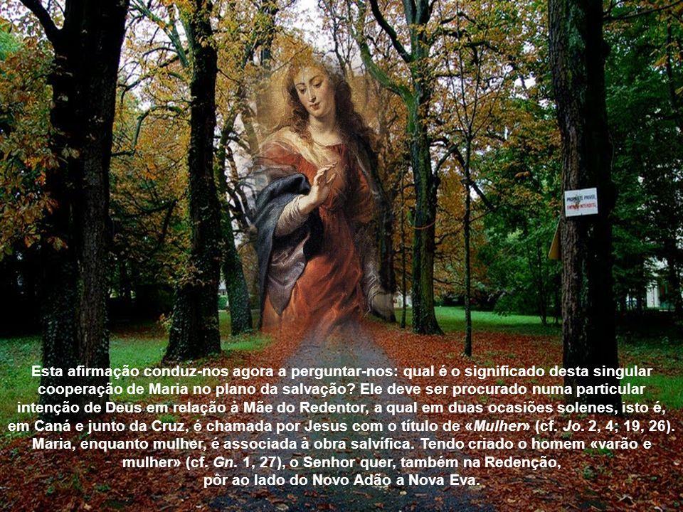 Embora a chamada de Deus a colaborar na obra da salvação se refira a cada ser humano, a participação da Mãe do Salvador na Redenção da humanidade repr