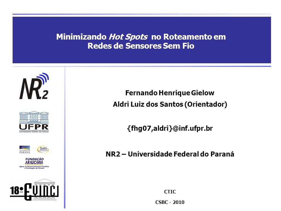 Roteiro Redes de Sensores Sem Fio (RSSF) Roteamento nas RSSF Hot spots CEA RRUCR Definição do raio dos sensores Clustering & Backbone inicial Rotação de líderes Coleta de dados & Manutenção Avaliação de desempenho Conclusão
