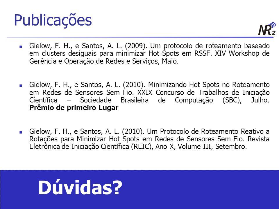 Publicações Gielow, F. H., e Santos, A. L. (2009). Um protocolo de roteamento baseado em clusters desiguais para minimizar Hot Spots em RSSF. XIV Work