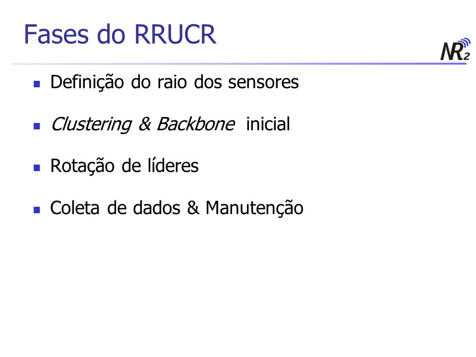 Fases do RRUCR Definição do raio dos sensores Clustering & Backbone inicial Rotação de líderes Coleta de dados & Manutenção