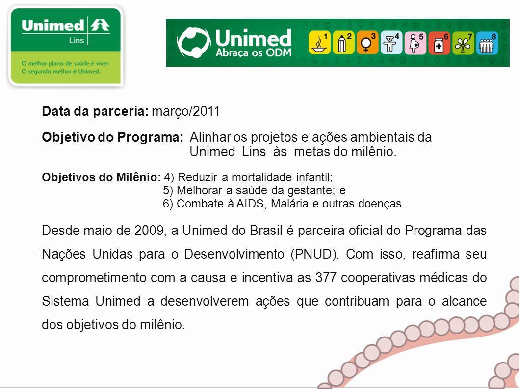 Desde maio de 2009, a Unimed do Brasil é parceira oficial do Programa das Nações Unidas para o Desenvolvimento (PNUD).