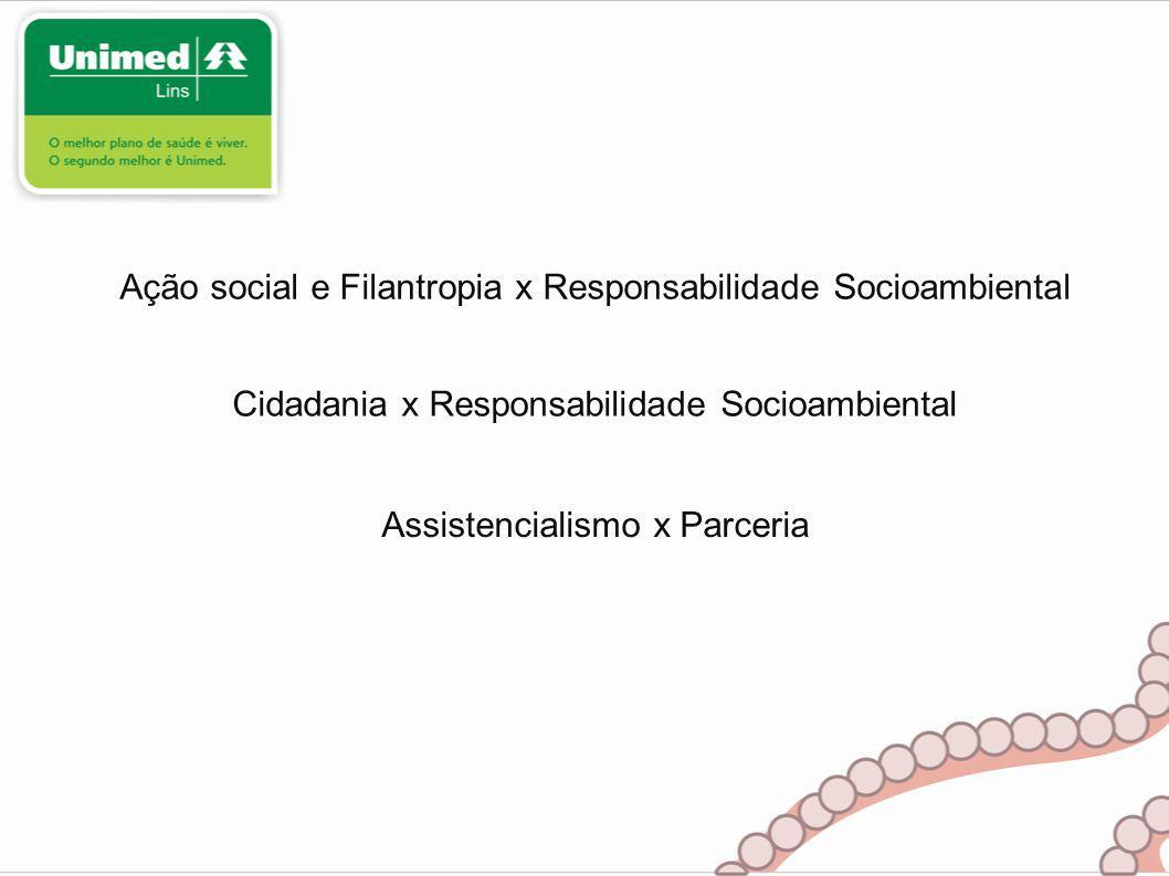 Ação social e Filantropia x Responsabilidade Socioambiental Cidadania x Responsabilidade Socioambiental Assistencialismo x Parceria