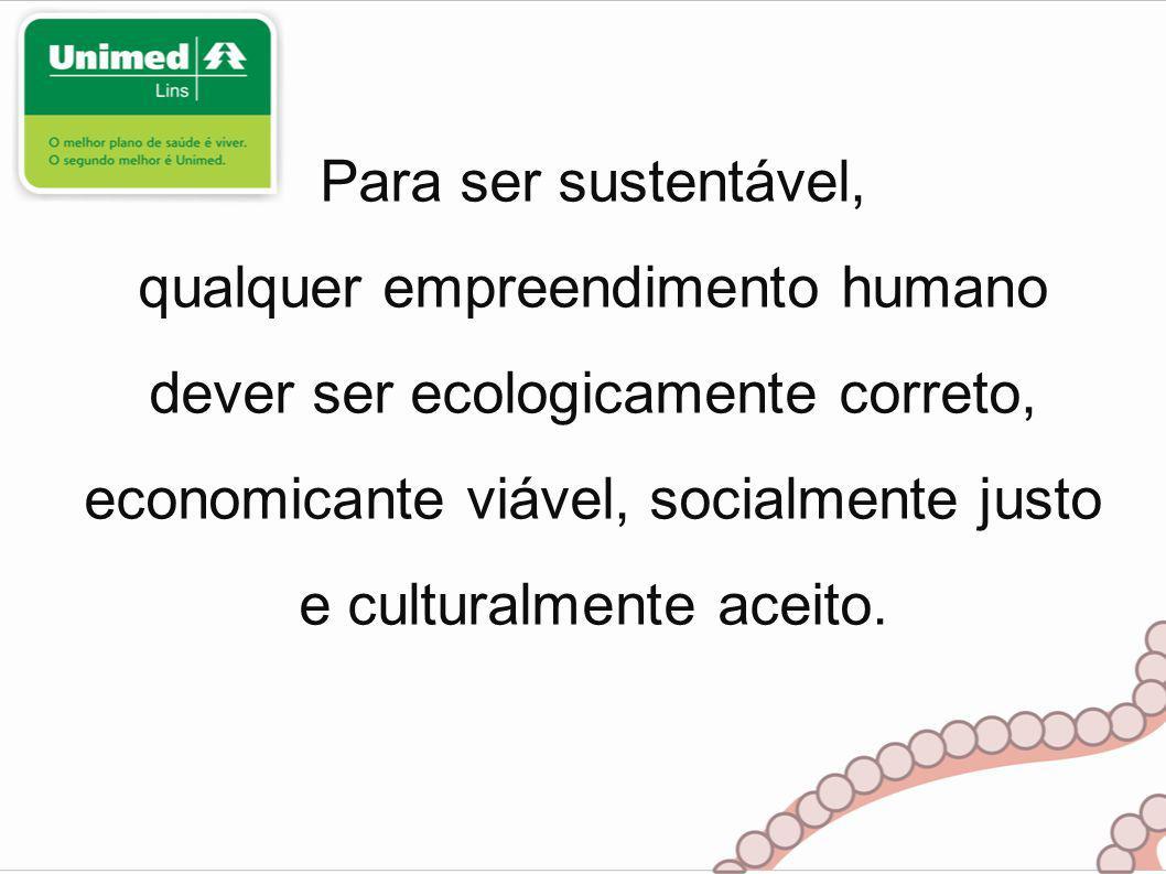 Para ser sustentável, qualquer empreendimento humano dever ser ecologicamente correto, economicante viável, socialmente justo e culturalmente aceito.