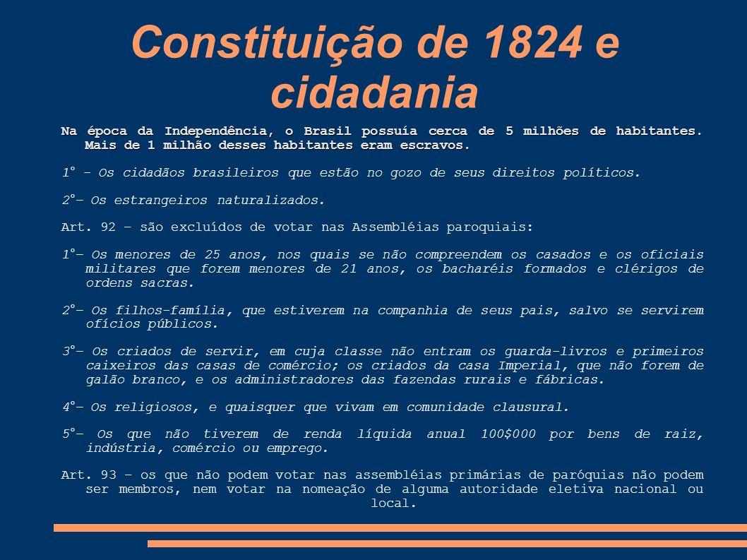 Constituição de 1824 e cidadania Na época da Independência, o Brasil possuía cerca de 5 milhões de habitantes. Mais de 1 milhão desses habitantes eram