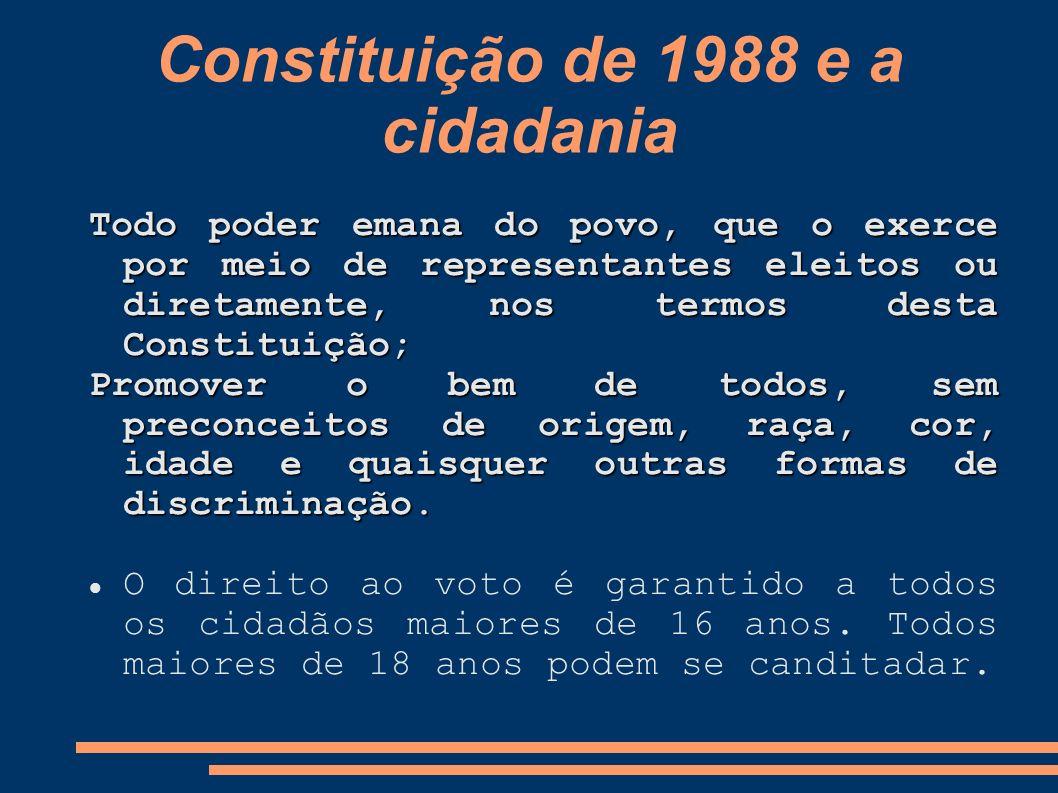 Constituição de 1988 e a cidadania Todo poder emana do povo, que o exerce por meio de representantes eleitos ou diretamente, nos termos desta Constitu