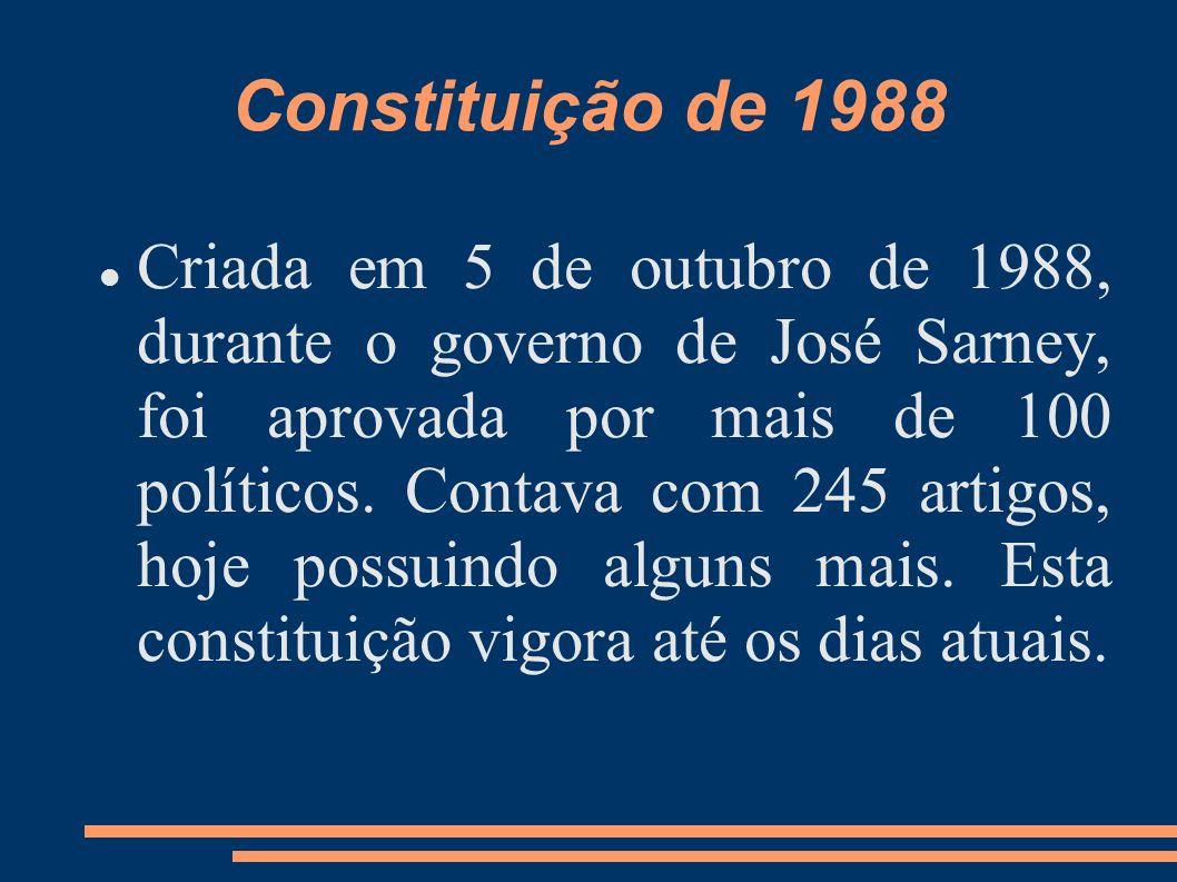 Constituição de 1988 Criada em 5 de outubro de 1988, durante o governo de José Sarney, foi aprovada por mais de 100 políticos. Contava com 245 artigos