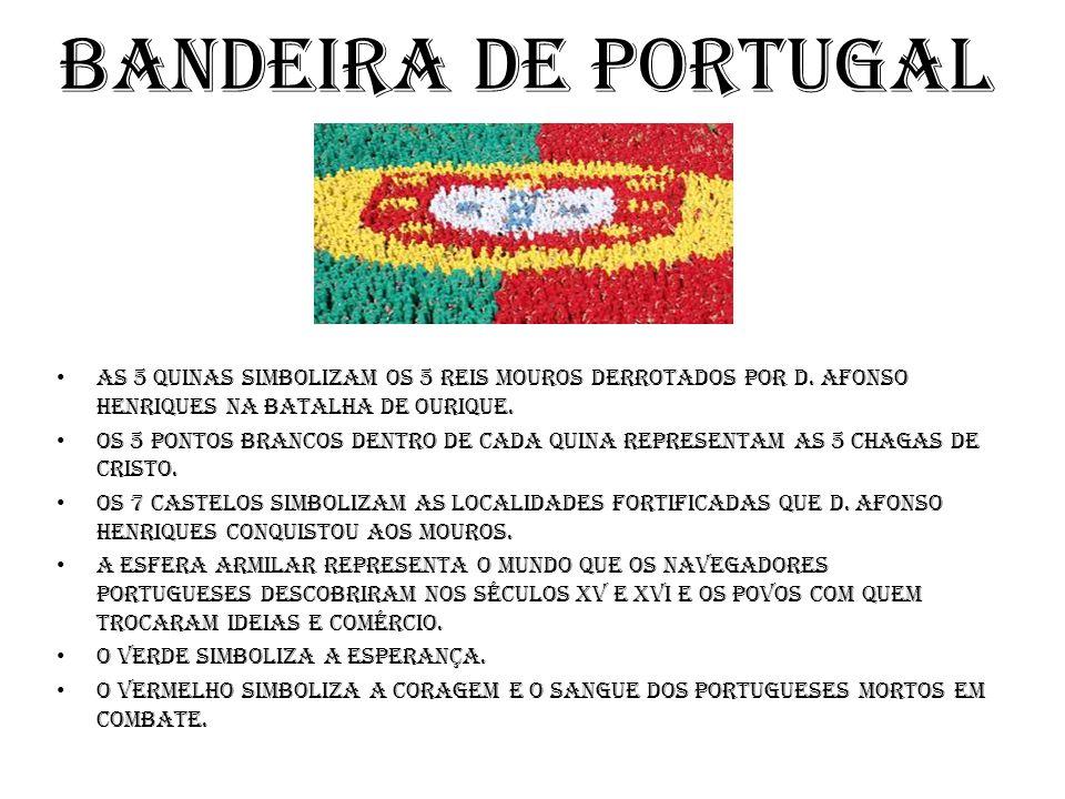 Bandeira de Portugal As 5 quinas Simbolizam os 5 reis mouros derrotados por D.
