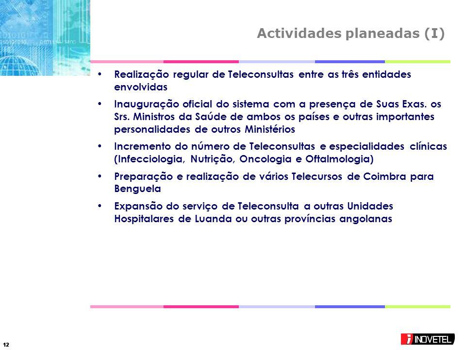 12 Actividades planeadas (I) Realização regular de Teleconsultas entre as três entidades envolvidas Inauguração oficial do sistema com a presença de Suas Exas.