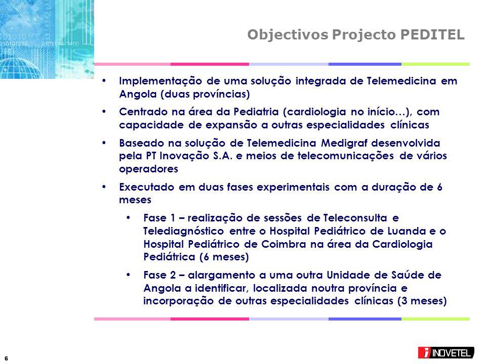 66 Objectivos Projecto PEDITEL Implementação de uma solução integrada de Telemedicina em Angola (duas províncias) Centrado na área da Pediatria (cardiologia no início…), com capacidade de expansão a outras especialidades clínicas Baseado na solução de Telemedicina Medigraf desenvolvida pela PT Inovação S.A.