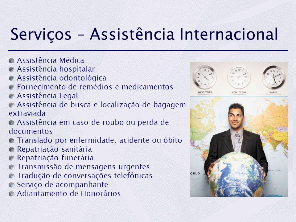 Serviços – Assistência Internacional Assistência Médica Assistência hospitalar Assistência odontológica Fornecimento de remédios e medicamentos Assist
