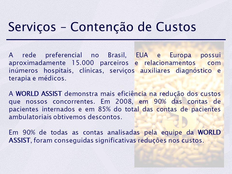 Serviços – Contenção de Custos A rede preferencial no Brasil, EUA e Europa possui aproximadamente 15.000 parceiros e relacionamentos com inúmeros hosp