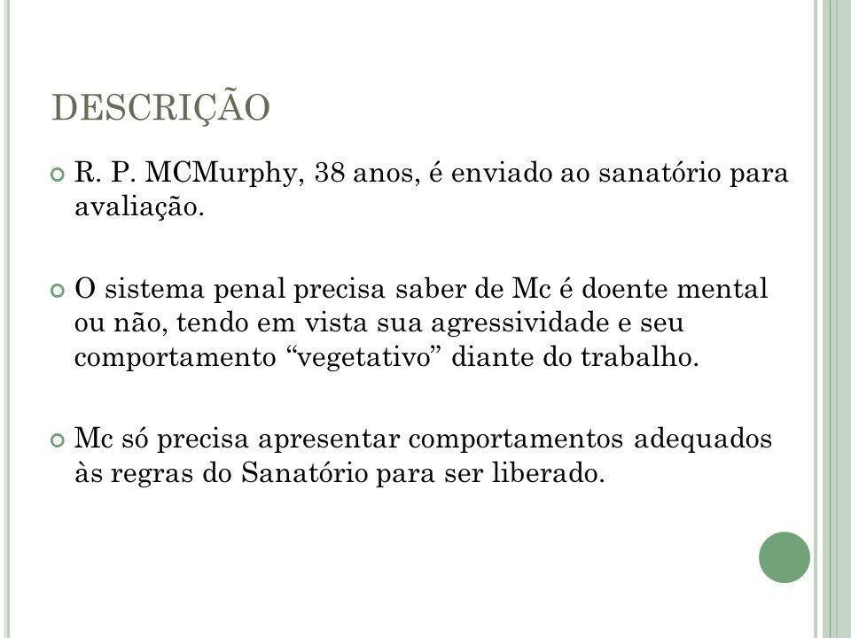 DESCRIÇÃO R. P. MCMurphy, 38 anos, é enviado ao sanatório para avaliação. O sistema penal precisa saber de Mc é doente mental ou não, tendo em vista s