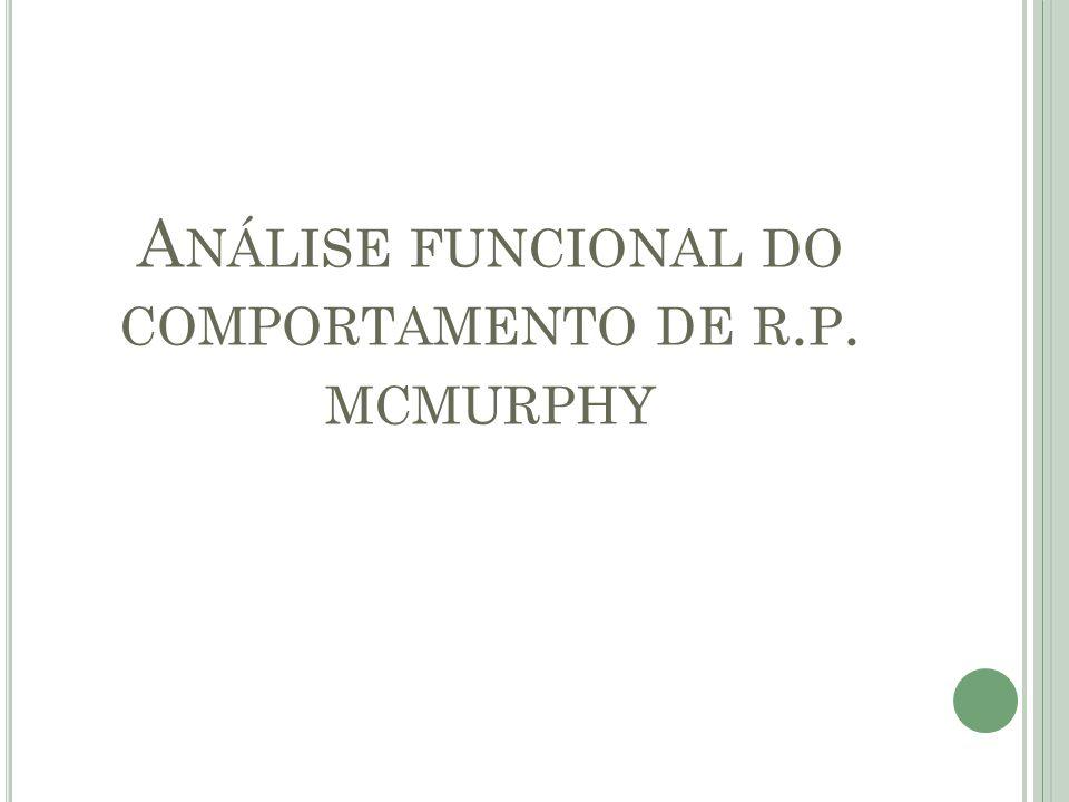 A NÁLISE FUNCIONAL DO COMPORTAMENTO DE R. P. MCMURPHY