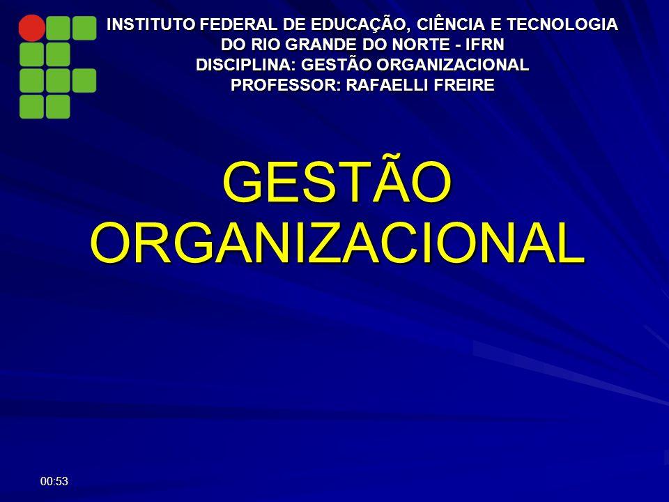 INSTITUTO FEDERAL DE EDUCAÇÃO, CIÊNCIA E TECNOLOGIA DO RIO GRANDE DO NORTE - IFRN DISCIPLINA: GESTÃO ORGANIZACIONAL PROFESSOR: RAFAELLI FREIRE GESTÃO