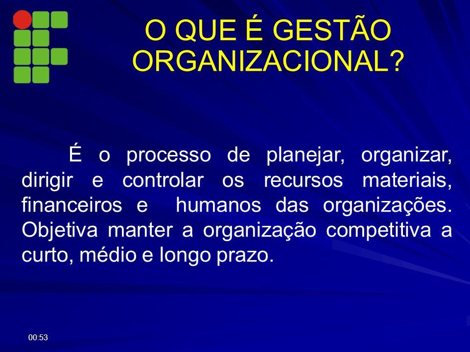 O QUE É GESTÃO ORGANIZACIONAL? É o processo de planejar, organizar, dirigir e controlar os recursos materiais, financeiros e humanos das organizações.