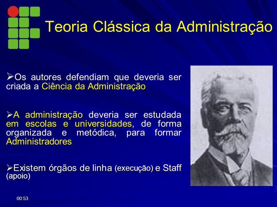 Os autores defendiam que deveria ser criada a Ciência da Administração A administração deveria ser estudada em escolas e universidades, de forma organ