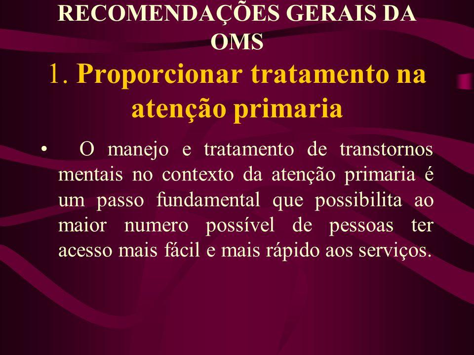 RECOMENDAÇÕES GERAIS DA OMS 1.