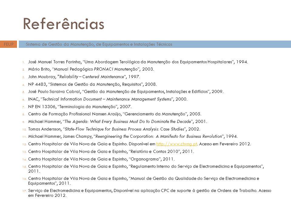 Referências 1. José Manuel Torres Farinha, Uma Abordagem Terológica da Manutenção dos Equipamentos Hospitalares, 1994. 2. Mário Brito, Manual Pedagógi