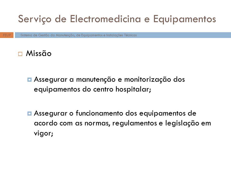 Serviço de Electromedicina e Equipamentos Missão Assegurar a manutenção e monitorização dos equipamentos do centro hospitalar; Assegurar o funcionamento dos equipamentos de acordo com as normas, regulamentos e legislação em vigor; Sistema de Gestão da Manutenção, de Equipamentos e Instalações TécnicasFEUP