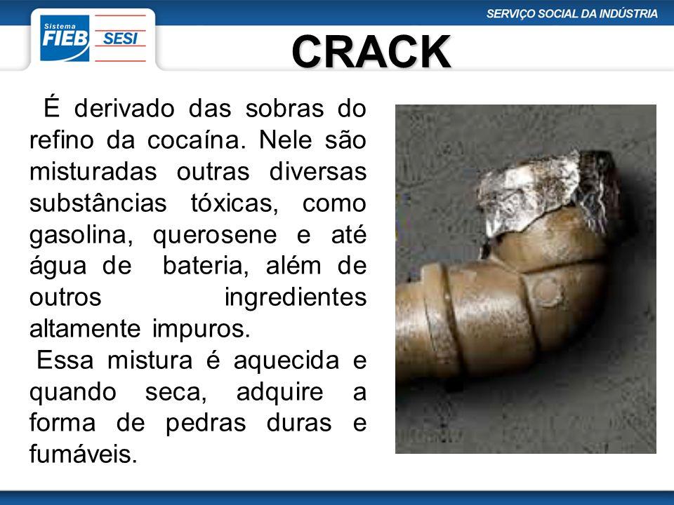 CRACK É derivado das sobras do refino da cocaína. Nele são misturadas outras diversas substâncias tóxicas, como gasolina, querosene e até água de bate