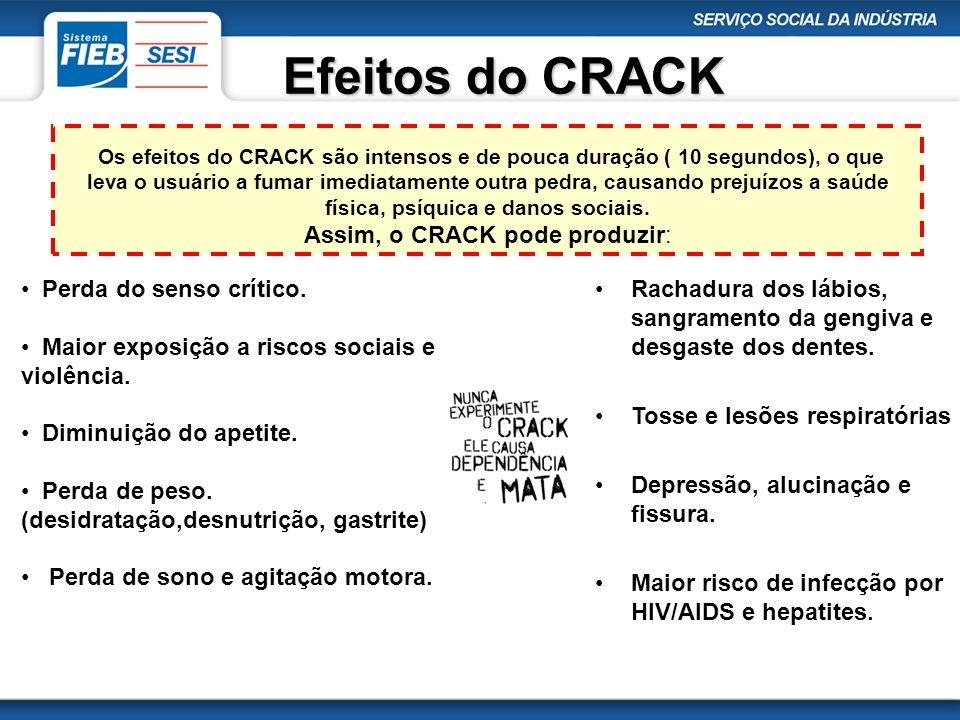 Efeitos do CRACK Os efeitos do CRACK são intensos e de pouca duração ( 10 segundos), o que leva o usuário a fumar imediatamente outra pedra, causando