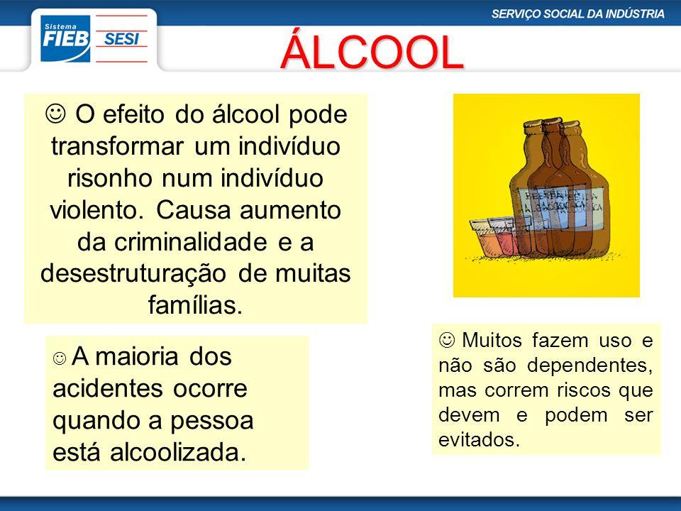 ÁLCOOL A maioria dos acidentes ocorre quando a pessoa está alcoolizada. Muitos fazem uso e não são dependentes, mas correm riscos que devem e podem se