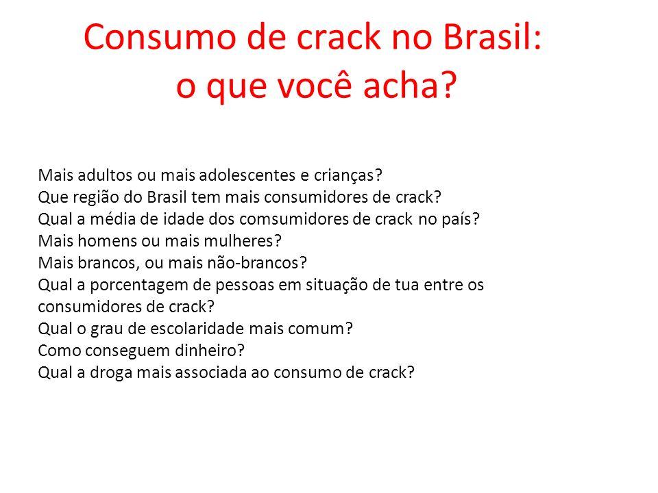 Mais adultos ou mais adolescentes e crianças.Que região do Brasil tem mais consumidores de crack.