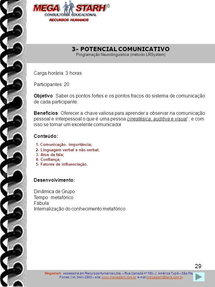 29 Megastarh- Assessoria em Recursos Humanos Ltda. – Rua Canadá nº 190- J. América Tupã – São Paulo Fones (14) 3441-2900 – site: www.megastarh.com.br