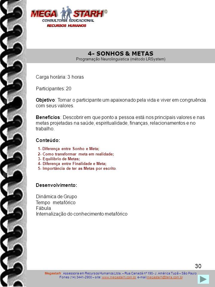 30 Megastarh- Assessoria em Recursos Humanos Ltda. – Rua Canadá nº 190- J. América Tupã – São Paulo Fones (14) 3441-2900 – site: www.megastarh.com.br