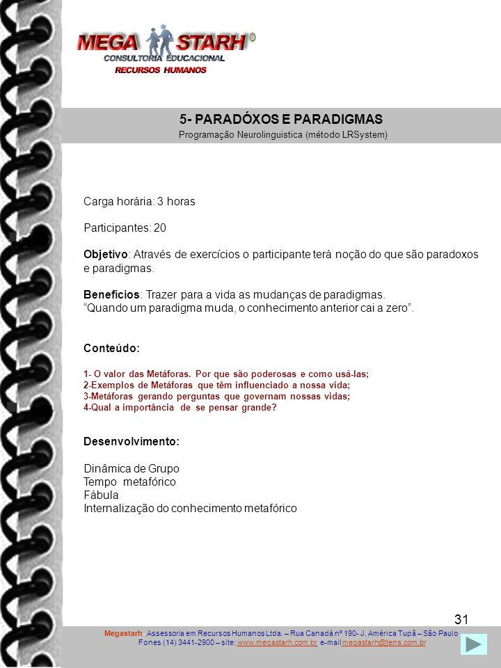 31 Megastarh- Assessoria em Recursos Humanos Ltda. – Rua Canadá nº 190- J. América Tupã – São Paulo Fones (14) 3441-2900 – site: www.megastarh.com.br