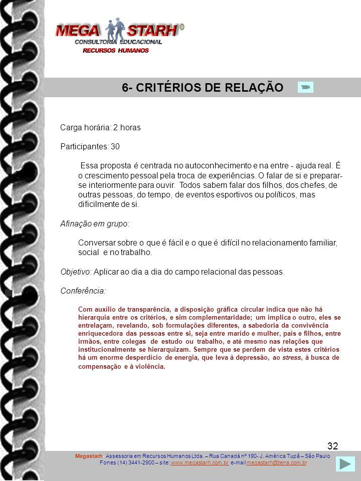 32 Megastarh- Assessoria em Recursos Humanos Ltda. – Rua Canadá nº 190- J. América Tupã – São Paulo Fones (14) 3441-2900 – site: www.megastarh.com.br