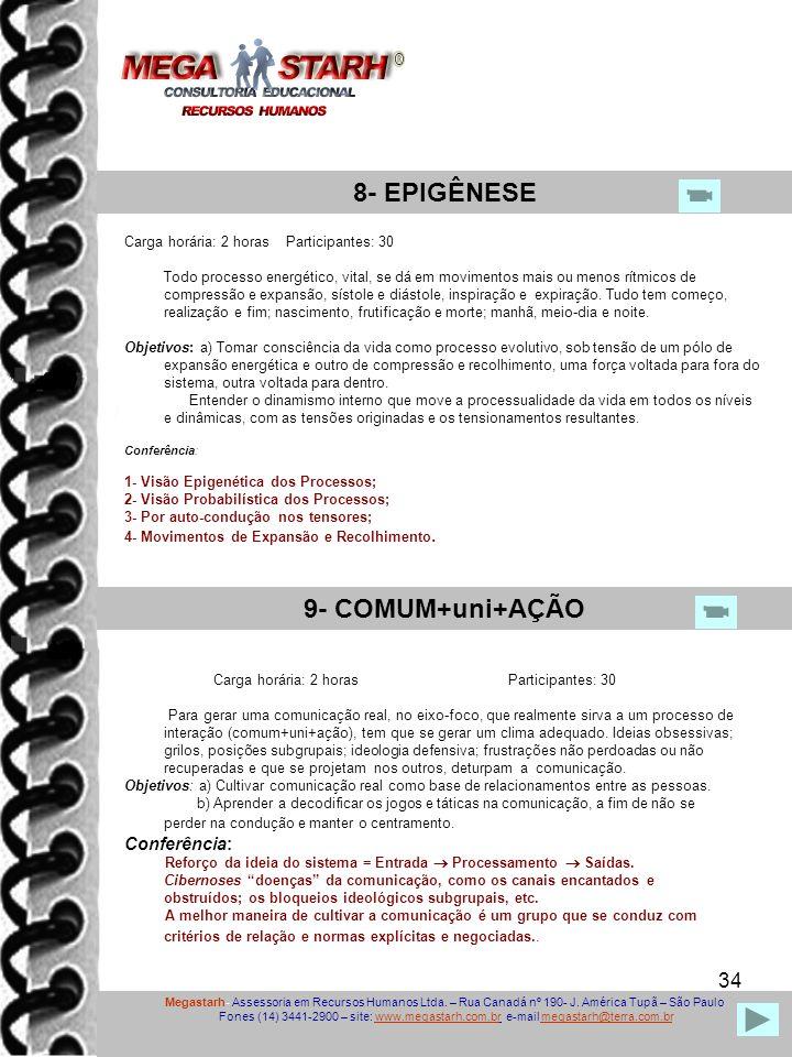 34 Megastarh- Assessoria em Recursos Humanos Ltda. – Rua Canadá nº 190- J. América Tupã – São Paulo Fones (14) 3441-2900 – site: www.megastarh.com.br