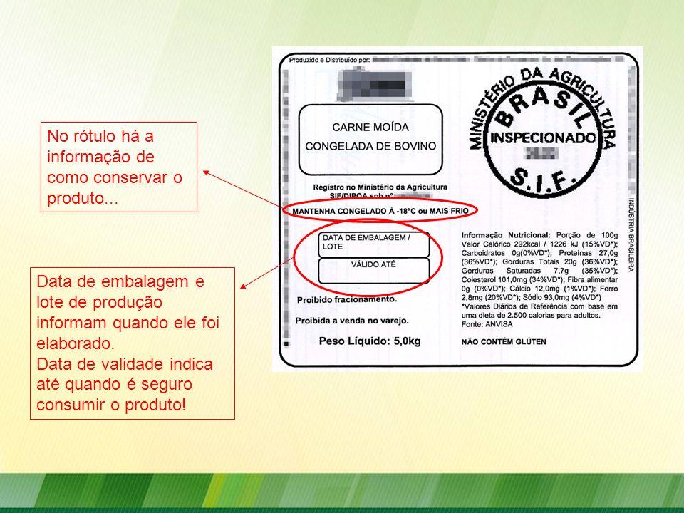 Data de embalagem e lote de produção informam quando ele foi elaborado. Data de validade indica até quando é seguro consumir o produto! No rótulo há a