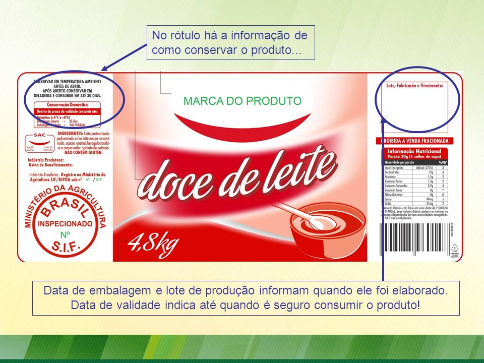 Data de embalagem e lote de produção informam quando ele foi elaborado. Data de validade indica até quando é seguro consumir o produto!