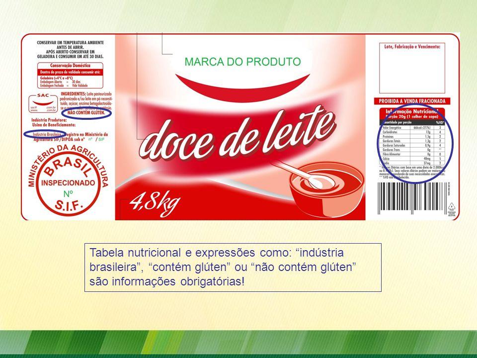 Tabela nutricional e expressões como: indústria brasileira, contém glúten ou não contém glúten são informações obrigatórias!