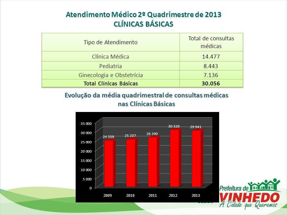 Evolução no total de Castrações de cães e gatos realizadas por Quadrimestre de 2012 ao 2º quadrimestre de 2013