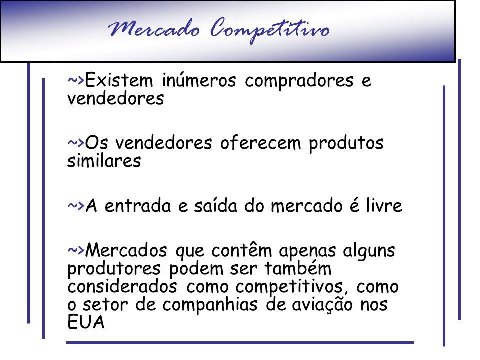 Mercado Competitivo ~>Existem inúmeros compradores e vendedores ~>Os vendedores oferecem produtos similares ~>A entrada e saída do mercado é livre ~>M