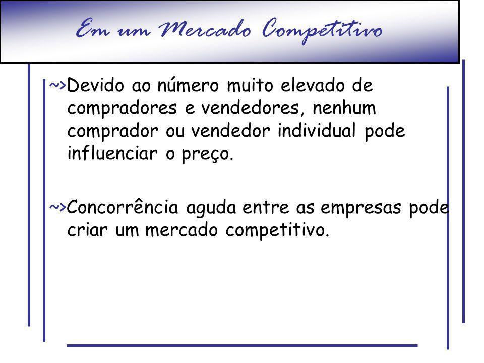 Em um Mercado Competitivo ~>Devido ao número muito elevado de compradores e vendedores, nenhum comprador ou vendedor individual pode influenciar o pre