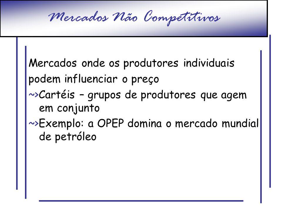 Mercados Não Competitivos Mercados onde os produtores individuais podem influenciar o preço ~>Cartéis – grupos de produtores que agem em conjunto ~>Ex