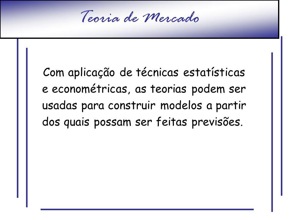 Teoria de Mercado Com aplicação de técnicas estatísticas e econométricas, as teorias podem ser usadas para construir modelos a partir dos quais possam