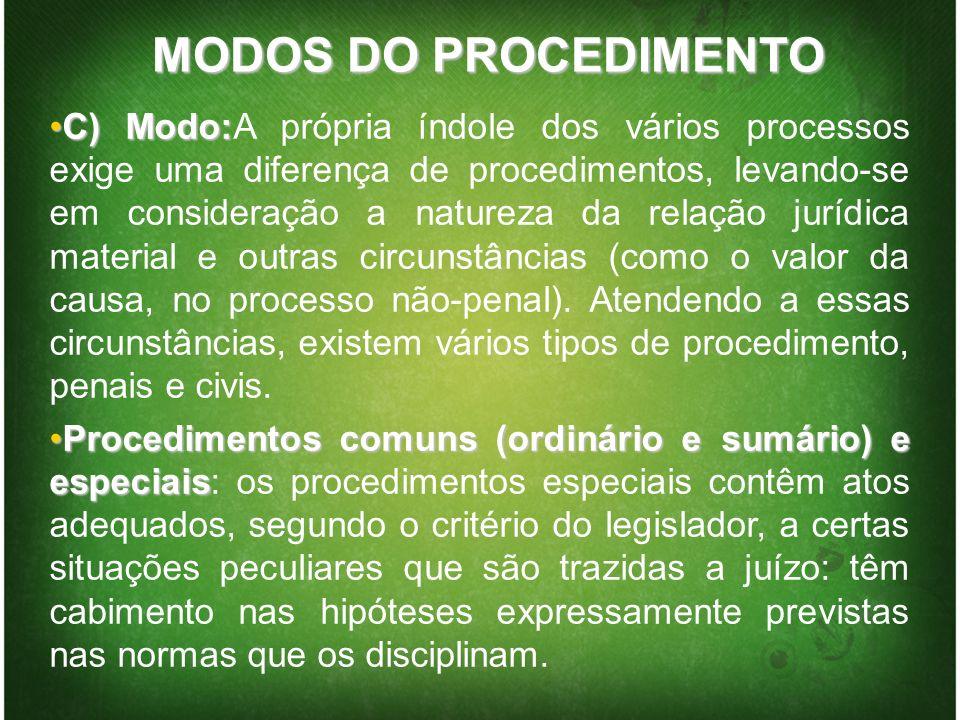 MODOS DO PROCEDIMENTO C) Modo:C) Modo:A própria índole dos vários processos exige uma diferença de procedimentos, levando-se em consideração a naturez