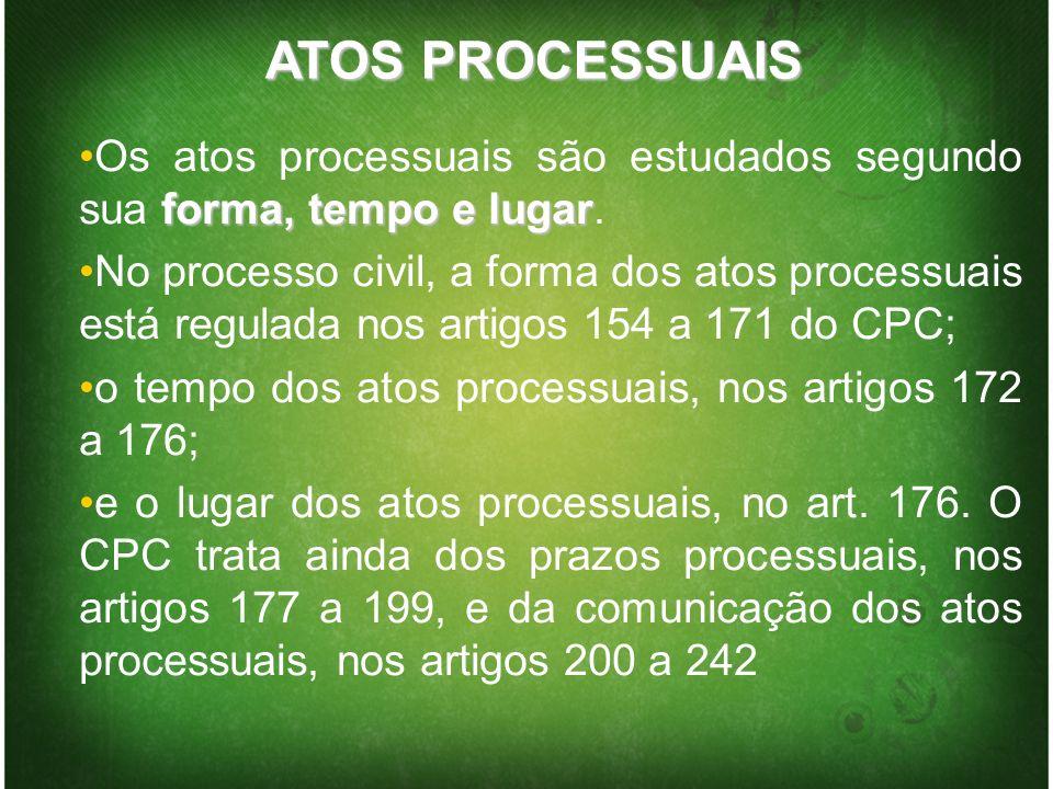 ATOS PROCESSUAIS forma, tempo e lugarOs atos processuais são estudados segundo sua forma, tempo e lugar. No processo civil, a forma dos atos processua