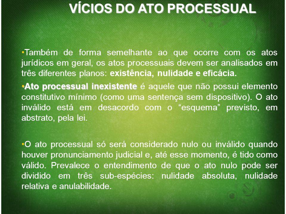 VÍCIOS DO ATO PROCESSUAL Também de forma semelhante ao que ocorre com os atos jurídicos em geral, os atos processuais devem ser analisados em três dif
