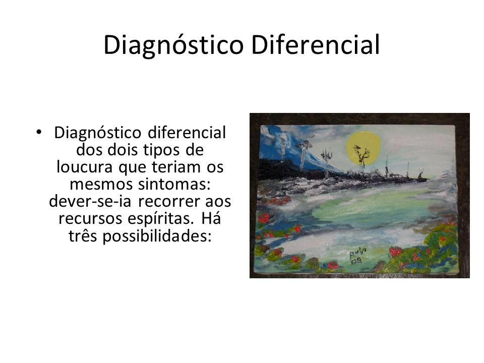 Diagnóstico Diferencial Diagnóstico diferencial dos dois tipos de loucura que teriam os mesmos sintomas: dever-se-ia recorrer aos recursos espíritas.