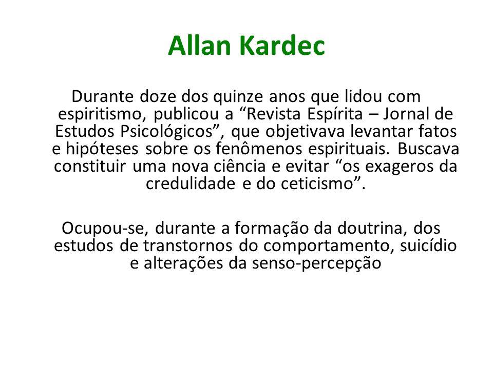 Allan Kardec Durante doze dos quinze anos que lidou com espiritismo, publicou a Revista Espírita – Jornal de Estudos Psicológicos, que objetivava leva