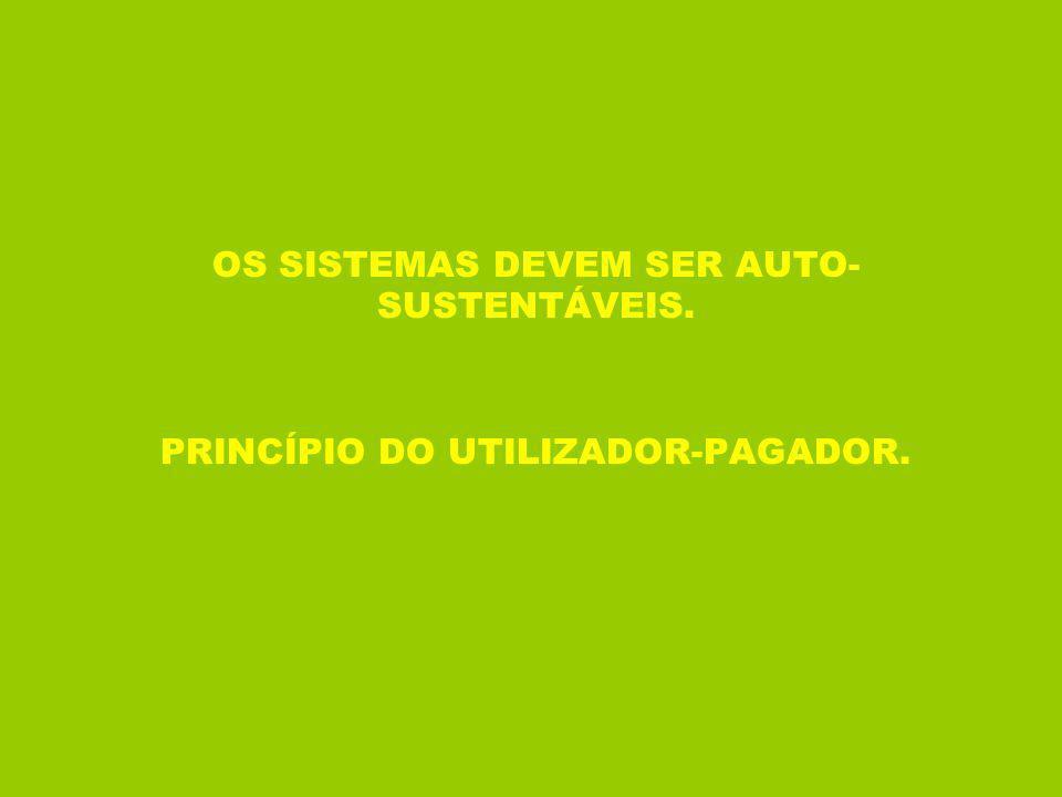 OS SISTEMAS DEVEM SER AUTO- SUSTENTÁVEIS. PRINCÍPIO DO UTILIZADOR-PAGADOR.